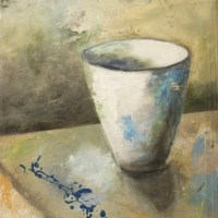 painting of an empty cup on a table