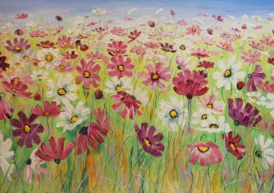landscape painting of flowers