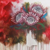 abstract painting with 3 proteas