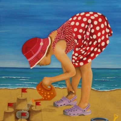 painting of a girl building a sand castle