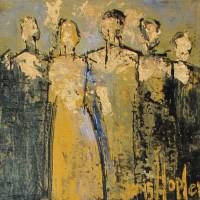 abstract painting of 5 people