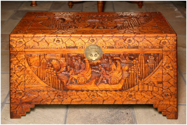 picture of an antique wooden chest