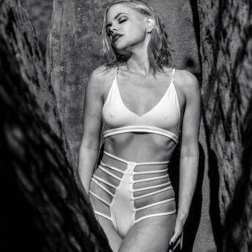 JA in White Swimwear BW