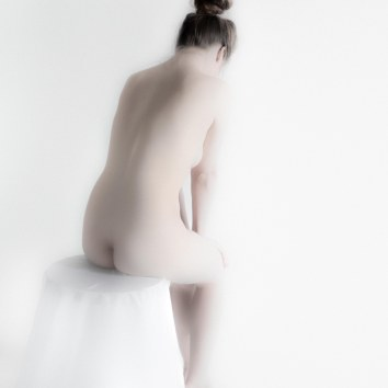Nude on White Stool