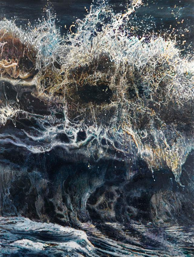 Dimitris Tzamouranis, 38° 51'N - 25° 30'E, 2017, Öl auf Leinwand, 290 x 220 cm