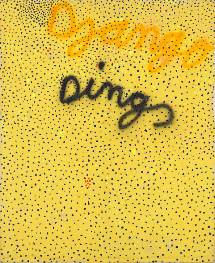 Reinhard Pods, Dings Gelb, 1980, Acryl und Sprayfarbe auf Leinwand, 170 x 140 cm