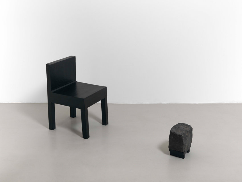 C.O. Paeffgen, Untitled (chair object, 2 pieces), 1971, black lacquer on wood, rock, 62 x 37 x 150 cm