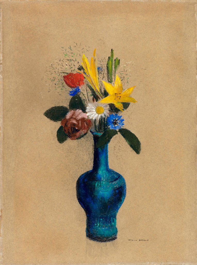 Odilon Redon, Bouquet de feurs dans un vase bleu, ca. 1900-1910, pastel on paper, 46.2 x 34.5 cm