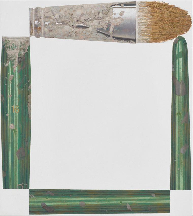René Wirths, Pinsel, 2015, Öl auf Leinwand, 100 x 90 cm
