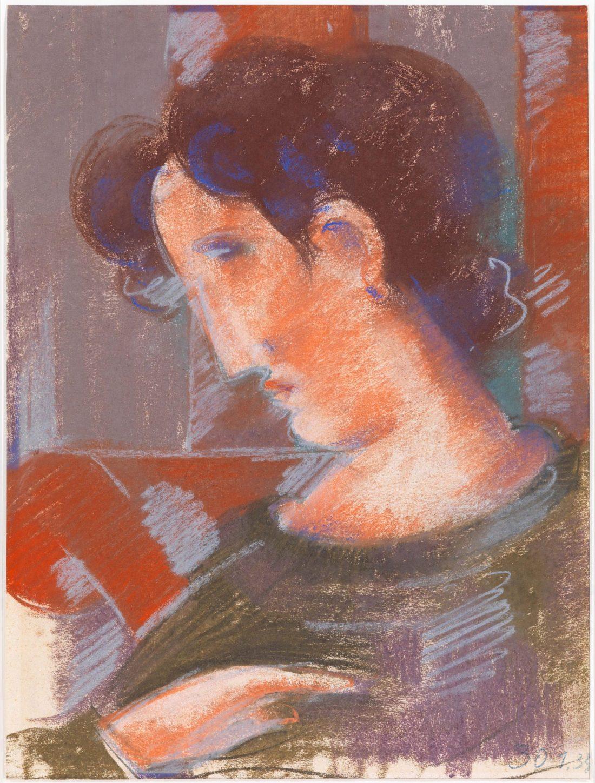 Oskar Schlemmer, Geneigte Halbifgur mit rötlichen Tönen, 1933, pastel on paper, 55 x 41.5 cm