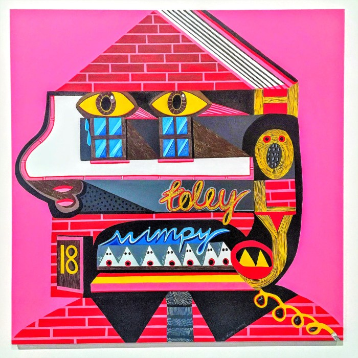 Houses for the Holy (2016) 1000mm x 1000mm / acrylic on canvas / Photography by Matthew Arthur Williams. A portrait of a head in profile painted as though it is a cartoon house. There are two eyes about the windows, the mouth is represented by a door with the number 18 on it and the hair is shaped like a phone and spells the word HOLY vertically, with the O looking like a head screaming. The teeth white triangles and represent Klu Klux Klan members that have black decaying holes for eyes forming rotten teeth, as a reminder that hate speech can begin close to home. They are singing into the the microphone of the disconnected phone.