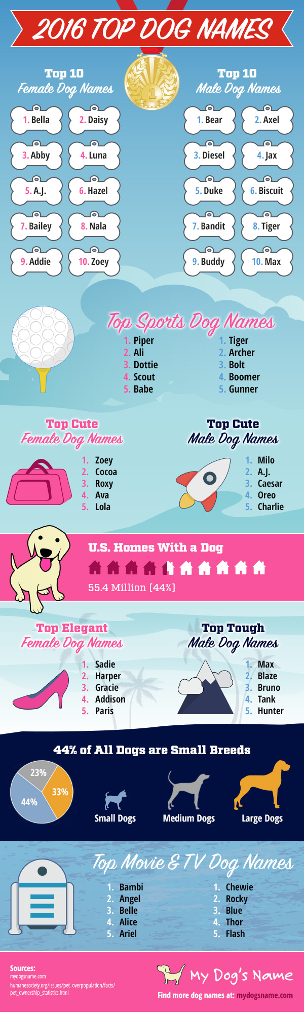 Top Dog Names of 2016