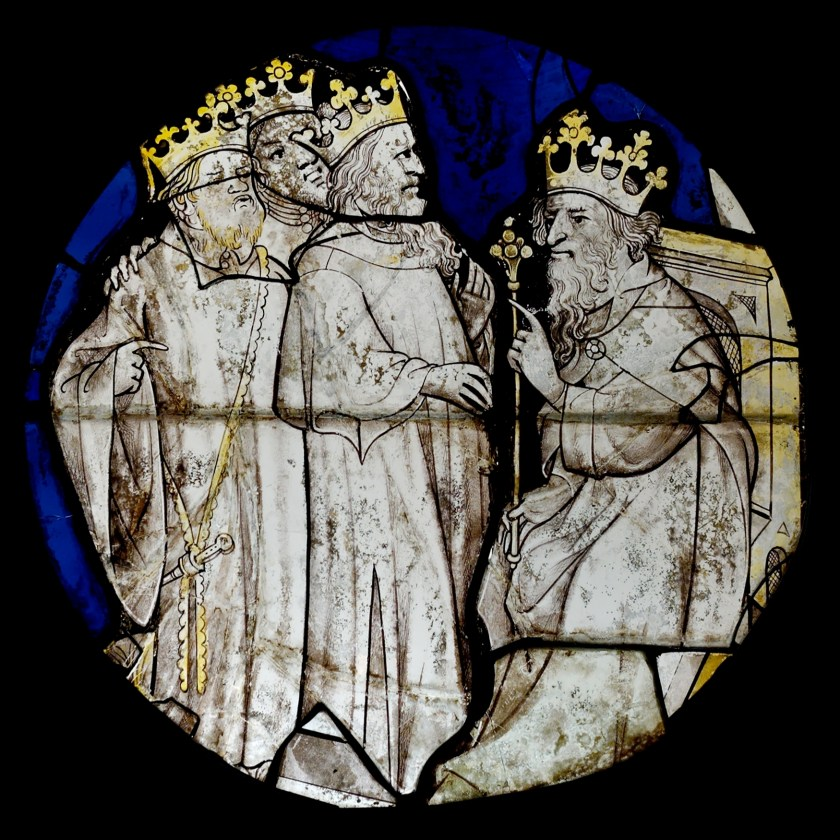 15th Century Stained Glass Grisaille Enamel: Magi Herod from Wikipedia Commons