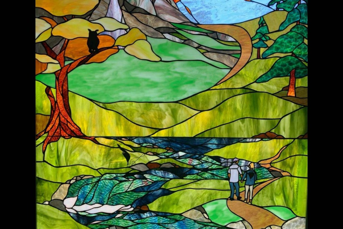 Crest Mountain Custom Stained Glass by Gallery's Choice Installed today
