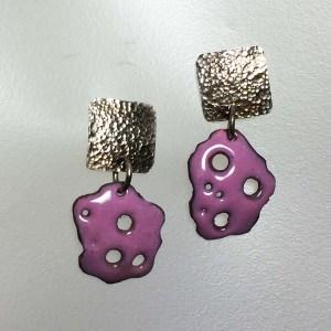 Pink Enamel Earrings