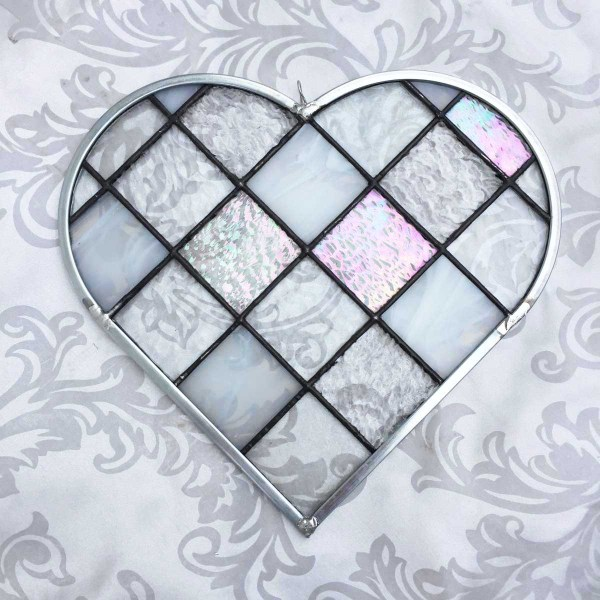 Clear Iridescent Checkerboard stained Glass Heart