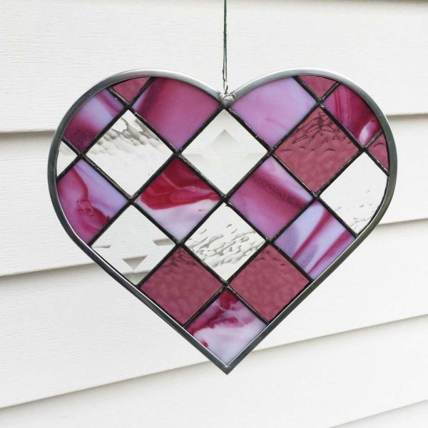 Beveled glass and cranberry pink stained glass heart