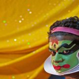 Kathakali performer prepares_2014