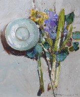 Flowers and vessel No2 30x26cm plus frame - Acrylic on Panel - £795.00