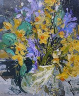 Flowers and Vessel no3 - 30x26cm plus frame - acrylic on panel - £795.00