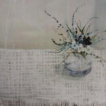 Jane Skingley 'Blue Flowers, Checked Cloth''