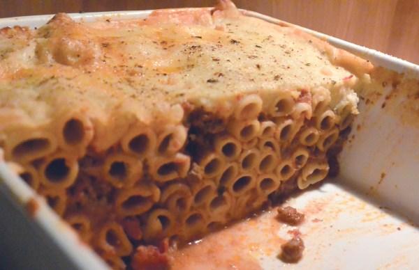 tubular pasta in casserole