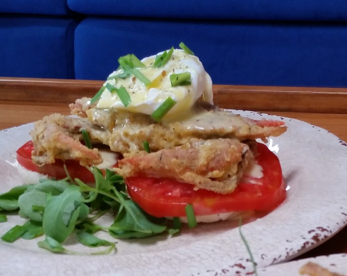 featured again shelled crabs benedict