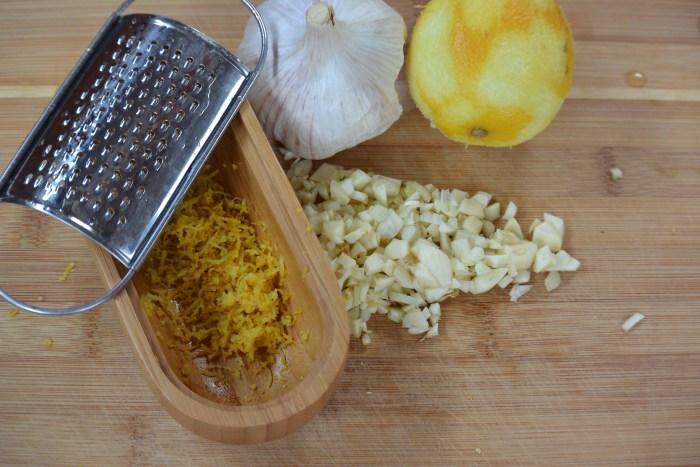 mince garlic grate lemon rind