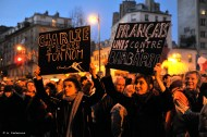 At sundown on 11 January: Charlie, I write your name... French united against barbarity