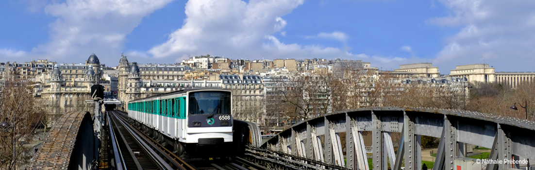 The Métro with Paris cityscape backdrop