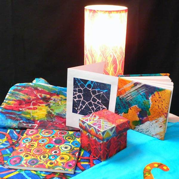 Image of finished batik papers and Paper Projects - from Batik Workshop - Fun with Paper & Fabric featuring Rosi Robinson