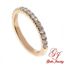 Wb01859 Rose Gold Thin Diamond Wedding Band