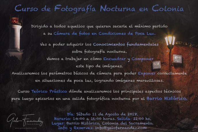 Curso de Fotografía Nocturna en Colonia del Sacramento - Sab 11 de Agosto 2018