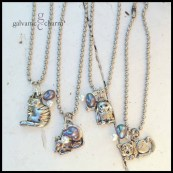"CATS & MOUSE - Four silly kitty cat (and one mouse) wristlets with pewter cat and mouse charms, wire wrapped pearl and blue iridescent beads. 7"" stainless steel ball chain (adjustable). $10 as shown. Sold separately."