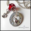 "CHERUB - Friendship necklace with single hand-stamped washer. Stainless steel angel charm, silver-plated initial charm, cherry-colored polka dot glass bead. 24"" stainless steel ball chain. $35 as shown."
