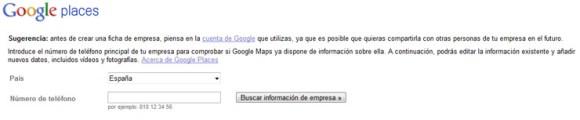Buscar información de empresa Google Places