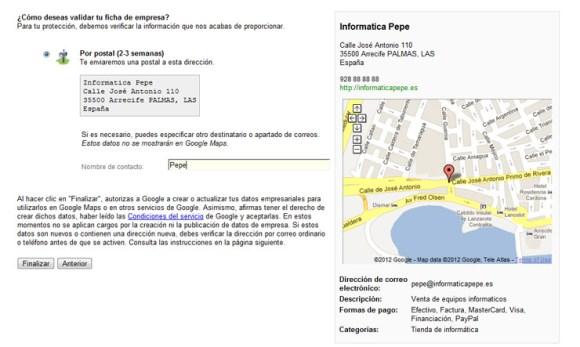 Validar ficha de empresa en Google Places