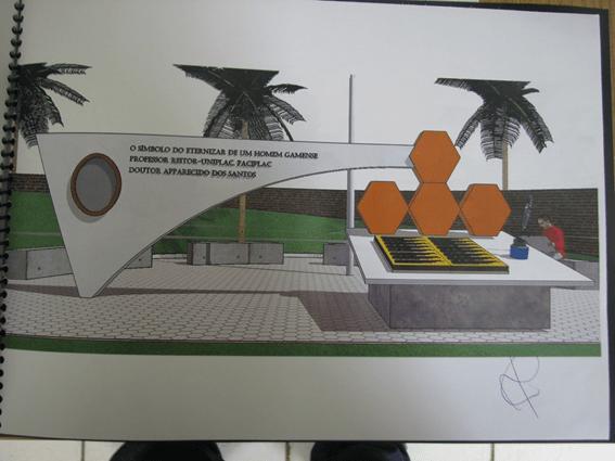 Monumento em homenagem ao professor Reitor Dr. Apparecido dos Santos