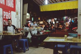 Blick aus der Straßenküche