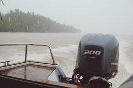 Heftiger Regen auf der Rückfahrt