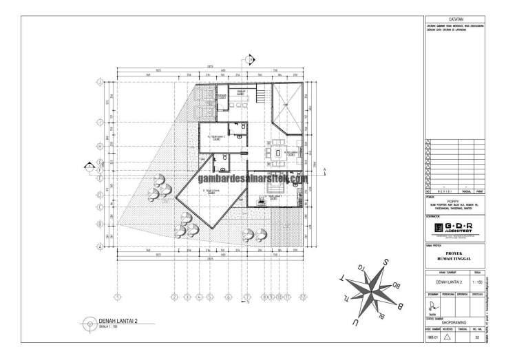 Jasa Desain Rumah Contoh Paket Gambar Kerja 02 DENAH LANTAI 2