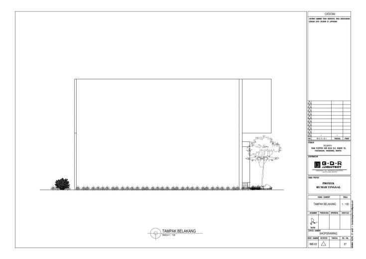 Jasa Desain Rumah Contoh Paket Gambar Kerja 07 TAMPAK BELAKANG