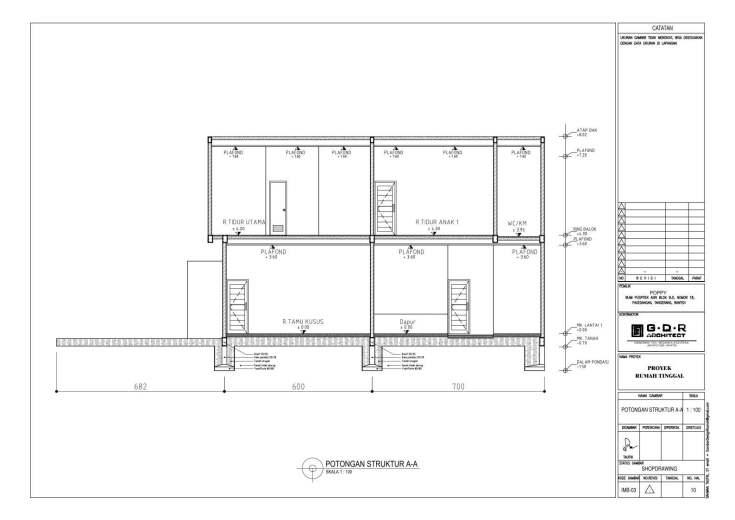 Jasa Desain Rumah Contoh Paket Gambar Kerja 10 POTONGAN STRUKTUR A-A