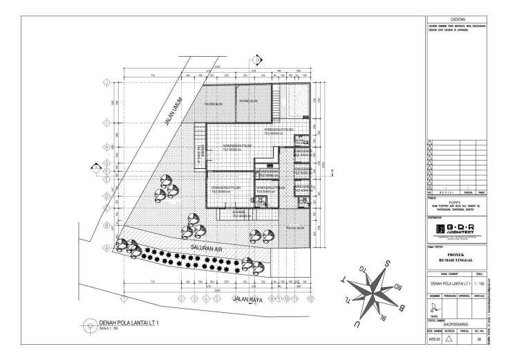 Jasa Desain Rumah Contoh Paket Gambar Kerja 38 DENAH POLA LANTAI LT 1
