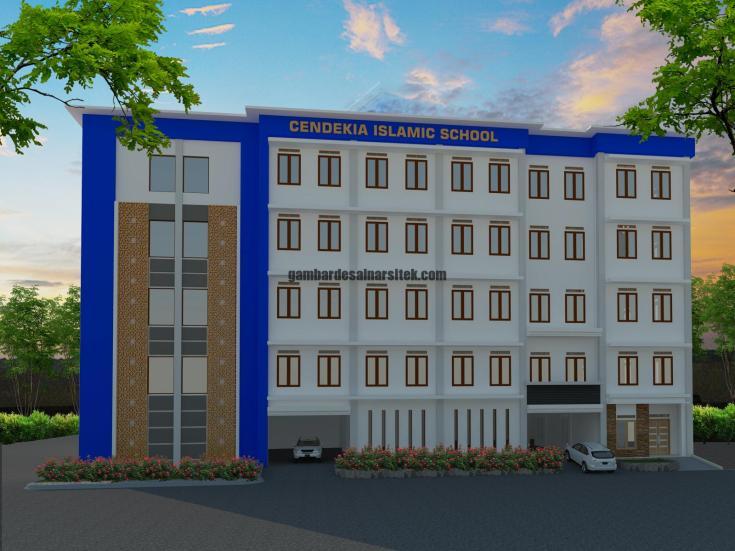 Contoh Desain 3D dan RAB Sekolah 5 Lantai dan Masjid 3