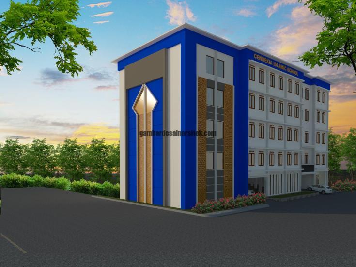 Contoh Desain 3D dan RAB Sekolah 5 Lantai dan Masjid 4