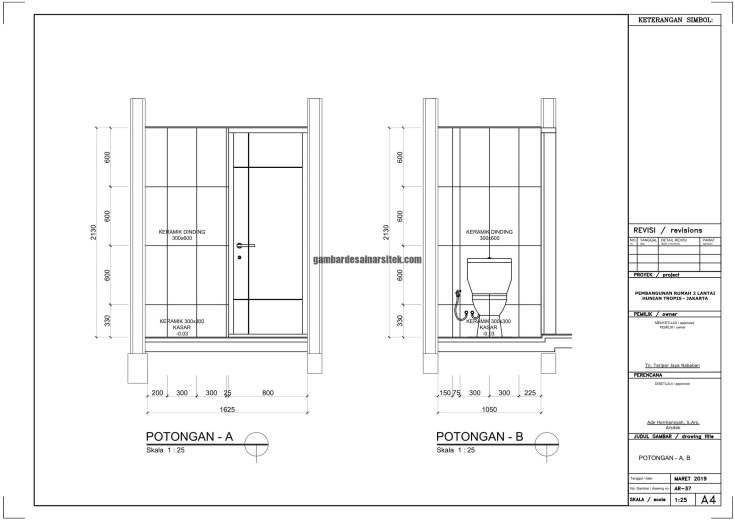 Gambar Kerja 2D Rumah 2 Lantai Tropis DETAIL TOILET POT 1