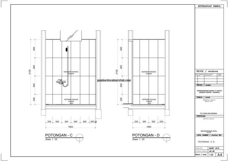 Gambar Kerja 2D Rumah 2 Lantai Tropis DETAIL TOILET POT CD 1