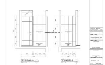 Gambar Kerja 2D Rumah 2 Lantai Tropis POTONGAN 1 2