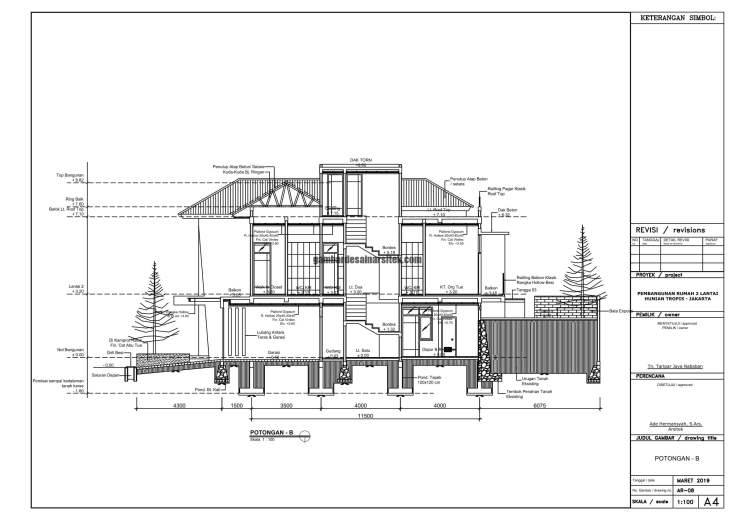 Gambar Kerja 2D Rumah 2 Lantai Tropis POTONGAN B 1